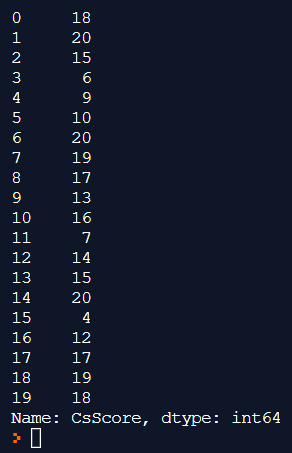 ผลลัพธ์ของคำสั่ง print(stdData['CsScore'])