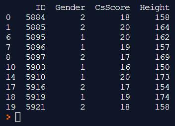 ผลลัพธ์ของคำสั่ง print(stdData[stdData.CsScore>=16])